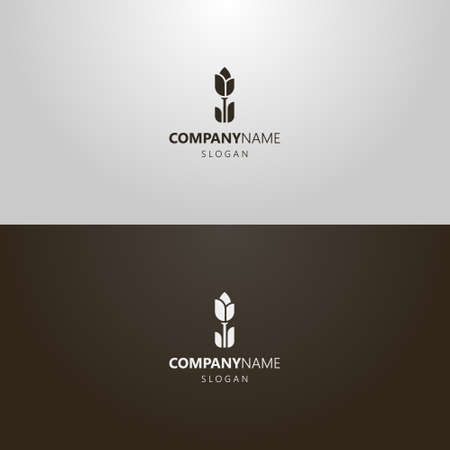 Schwarz-Weiß-einfache Vektor-flache Kunst skizzieren das ikonische Logo der Tulpenblume Logo