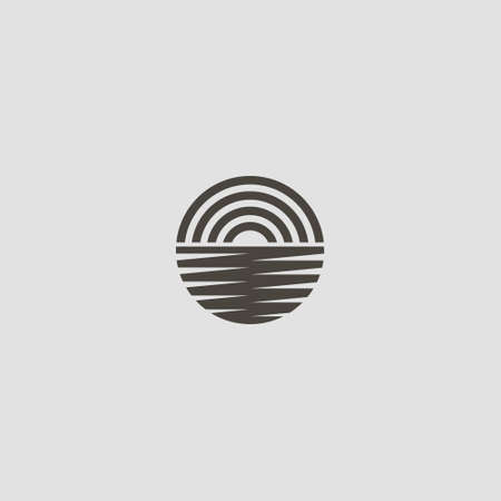 black and white simple vector line art round iconic sign of sunrise or sunset behind the water surface
