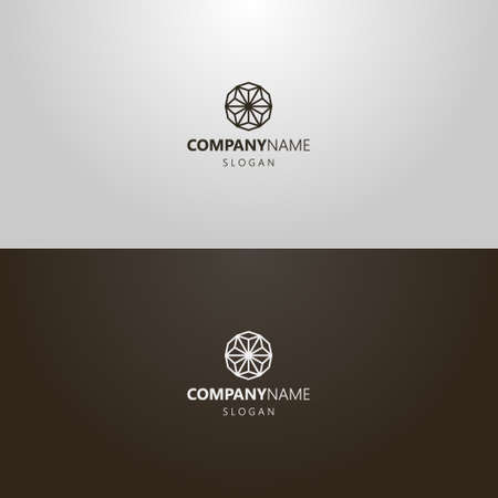 black and white simple vector geometric line art iconic logo of single line star or flower Vettoriali