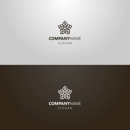 black and white simple vector line art outline iconic logo of decorative five-petal flower Vettoriali