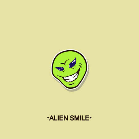 colorful simple vector flat art sticker of alien smiling face