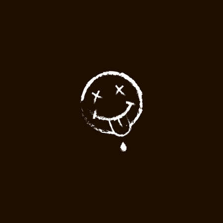 line art simple vector chalked emoticon smiling dead face with tongue hanging out on black background Vettoriali