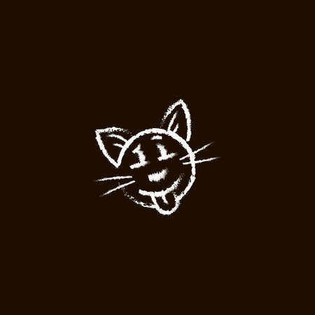 line art simple vector chalk emoticon of funny cat face on a black background