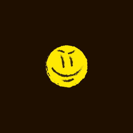 simple vector flat art freehand yellow grinning emoticon on a black background Çizim