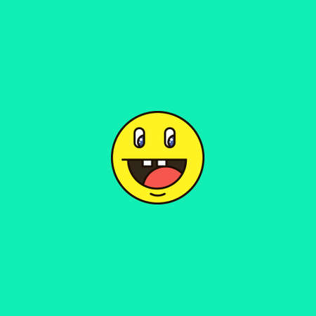colorful simple vector flat art round emoticon smiling double-toothed face
