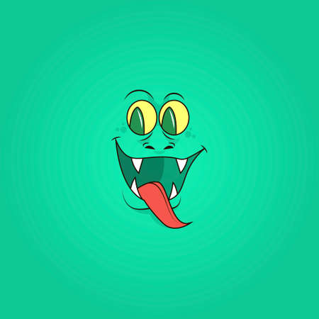 colorful simple vector flat art illustration of smiling reptile face with sharp teeth