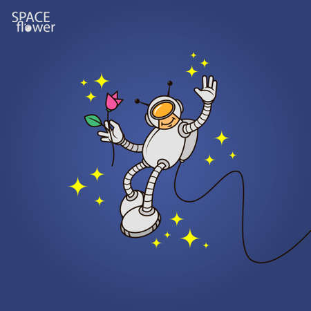 colorful simple vector flat art illustration of humanoid astronaut with flower in hand Vettoriali