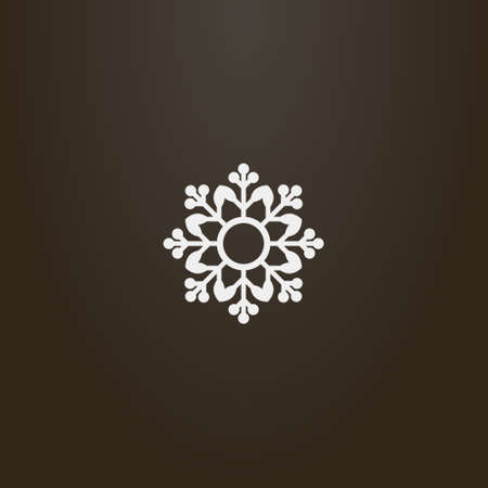 white sign on a black background. simple vector flat art outline sign of decorative eight-petal flower Vettoriali