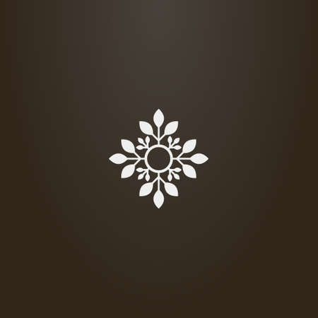 white sign on a black background. simple vector flat art outline sign of decorative four-petal flower Vettoriali