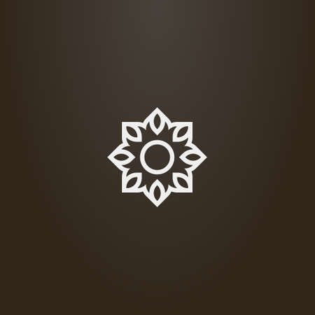white sign on a black background. simple vector line art outline sign of eight-petal flower or sun