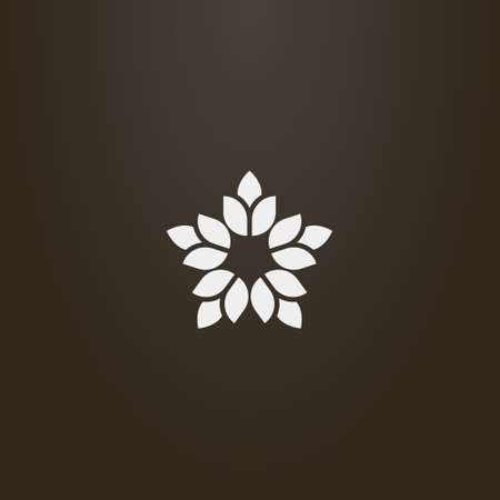 white sign on a black background. simple vector flat art outline sign of decorative five-petal star-shaped flower