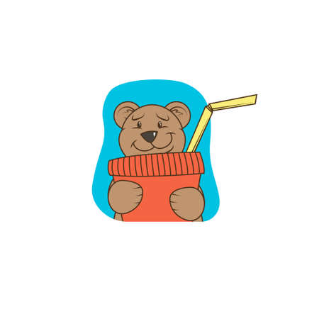 simple color flat art illustration of cartoon funny bear with a paper cup from which a cocktail tube sticks out