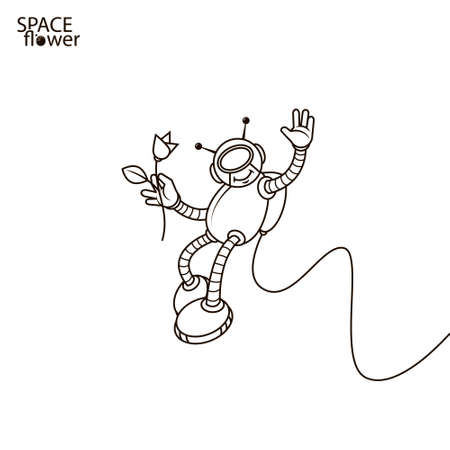 line art simple illustration of cartoon smiley romantic astronaut with a flower in his hand