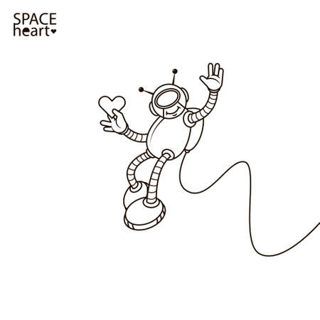 line art simple illustration of cartoon smiley romantic astronaut with a heart in his hand
