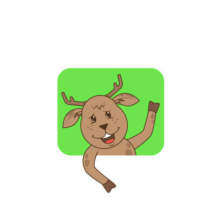 simple color flat art illustration of a funny cartoon deer with a hoof greeted up