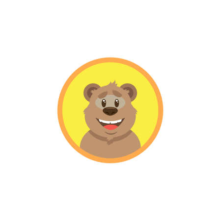 simple color flat art illustration of cartoon happy bear face in a round frame