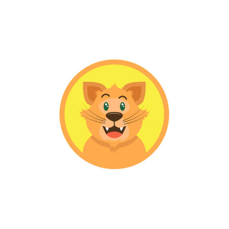 simple color flat art illustration of cartoon happy cat face in a round frame Vettoriali