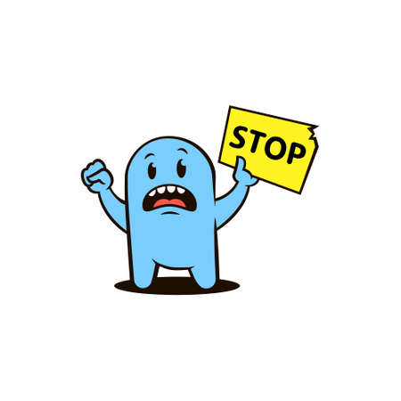 flat art color illustration of an outraged blue cartoon character with a protest poster with the word stop in his hand