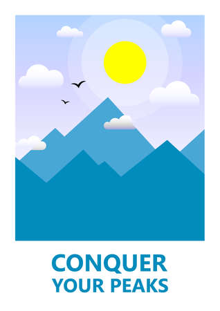 color simple vector flat art illustration of mountain landscape on motivational poster