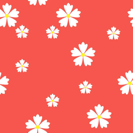 colorful simple vector flat art seamless pattern of white flowers on red background Vettoriali
