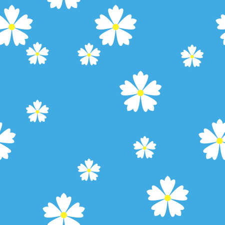 colorful simple vector flat art seamless pattern of white flowers on blue background Vettoriali