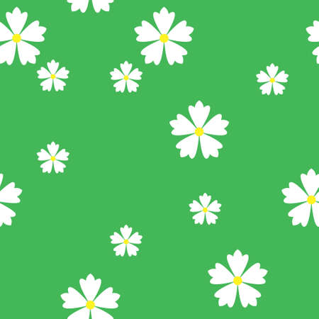 colorful simple vector flat art seamless pattern of white flowers on green background Vettoriali