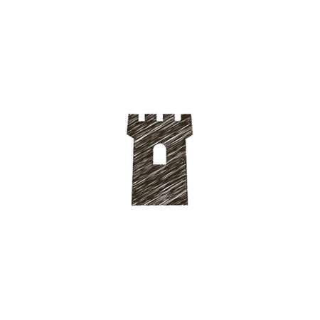 black and white simple vector flat art linear freehand drawn sign of castle tower Vettoriali