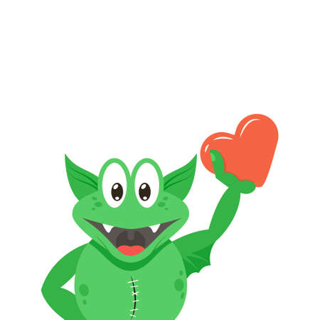 simple vector flat art colour cartoon illustration of anthropomorphic green monster with own heart in his hand on a white background
