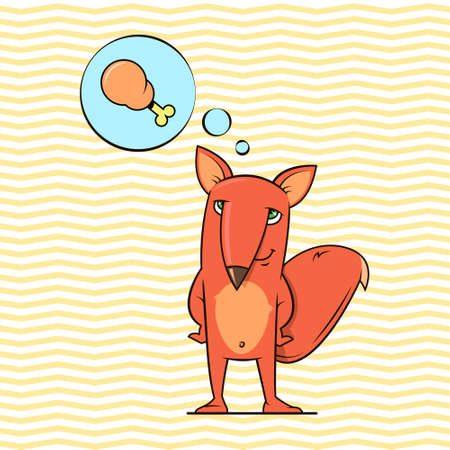 simple vector flat art colour cartoon illustration of anthropomorphic red fox wich dreaming about chicken leg on a geometric background