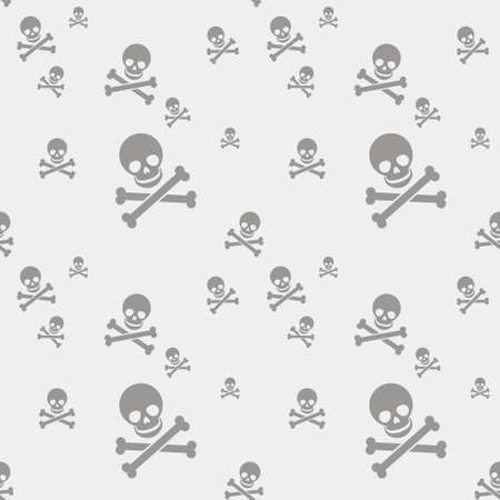 simple vector flat art seamless pattern of gray human skull with two crossed bones on a white background