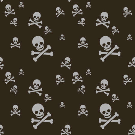 simple vector flat art seamless pattern of white human skull with two crossed bones on a black background Vettoriali