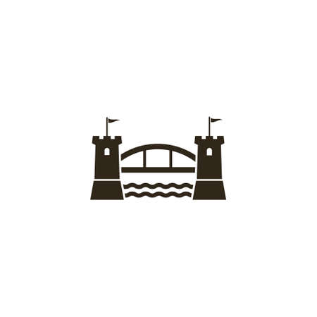 simple vector flat art black illustration of bridge between two castle towers on a white background Vettoriali