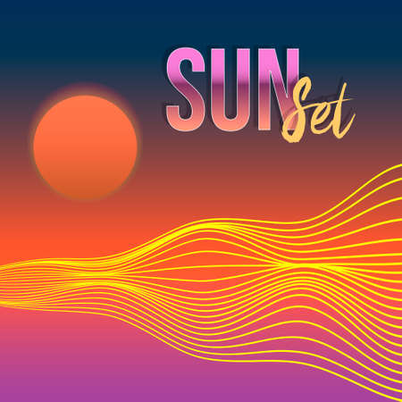 colorful vector illustration of abstract poster of hills wavy lines under the red sun and the inscription sunset