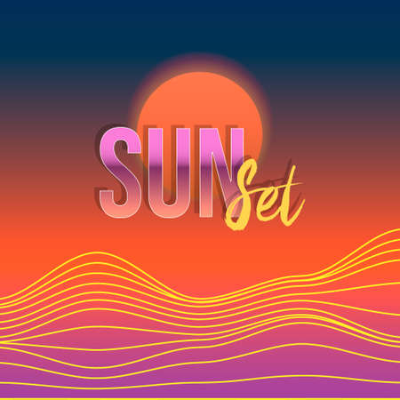 colorful vector illustration of abstract hills wavy lines under the red sun and the inscription sunset