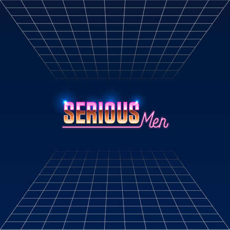 colorful simple vector illustration in 80s style of headline of signboard with text serious men on gridded background