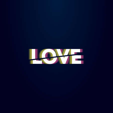 colorful simple vector illustration of headline word love is divided by a diagonal line