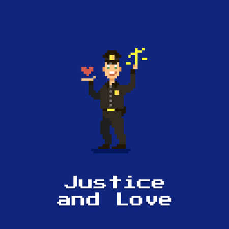 colorful simple flat pixel art illustration of a smiling policeman holding a scale in one hand and a heart in the other and with the text below justice and love