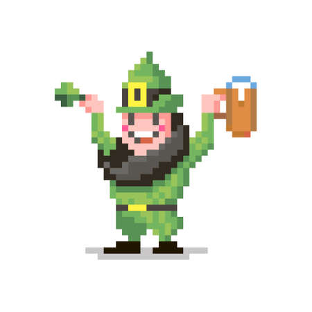 colorful simple flat pixel art illustration of smiling leprechaun in a green suit with a glass of beer and a clover in his hands