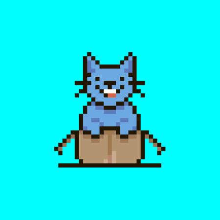 colorful simple flat pixel art illustration of cartoon smiling crypto cat sitting in an open cardboard box Vektoros illusztráció