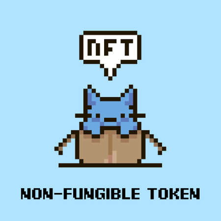 colorful simple flat pixel art illustration of cartoon cute kitten sitting in an open cardboard box and speech-bubble with text NFT and non-fungible token in it Vector Illustration