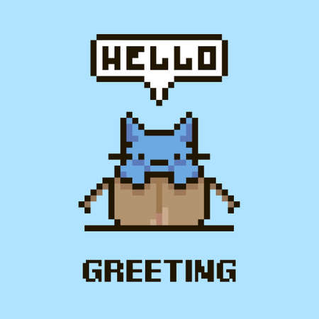 colorful simple flat pixel art illustration of cartoon cute kitten sitting in an open cardboard box and speech-bubble with text hello in it