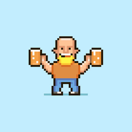 colorful simple flat pixel art illustration of cartoon bald smiling man with light beard holding two glasses of beer Иллюстрация