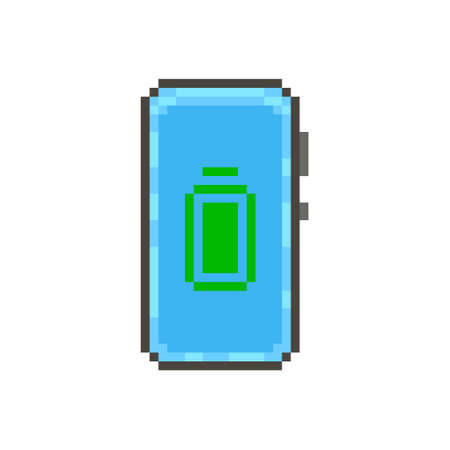 colorful simple flat pixel art illustration of modern smartphone with a green fully charged battery icon on the display