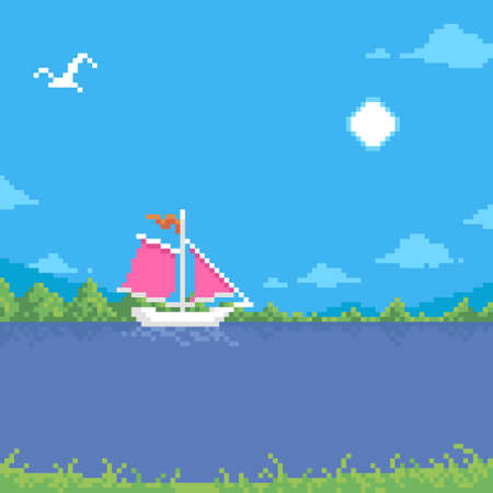 colorful simple flat pixel art illustration of cartoon summer sunny landscape of a floating white sailboat with scarlet sails and a seagull flying in the sky Иллюстрация