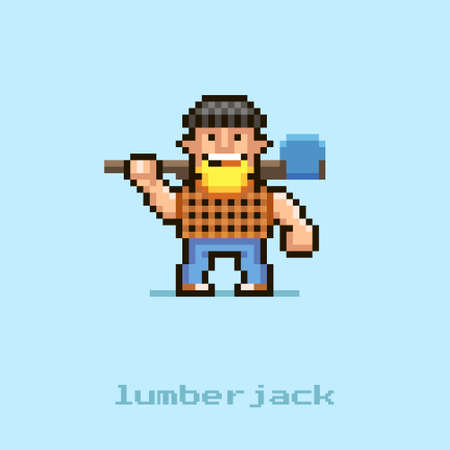 colorful simple flat pixel art illustration of cartoon smiling lumberjack with a blonde beard in a black hat and a plaid shirt with an axe on his shoulders Иллюстрация