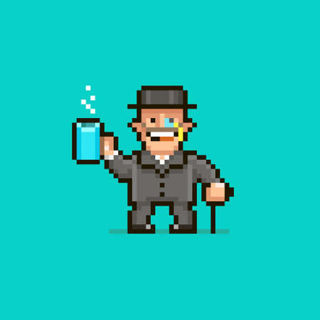 colorful simple flat pixel art illustration of cartoon smiling gentleman in a hat with a monocle holding a cup of hot drink and leaning on a cane Иллюстрация