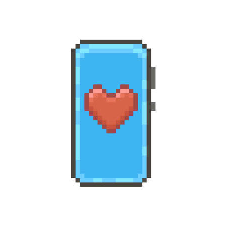 colorful simple flat pixel art illustration of modern smartphone with abstract red heart on display Иллюстрация