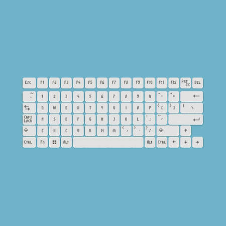 colorful simple flat pixel art illustration of cartoon all white laptop or pc keys template