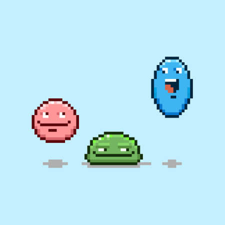colorful simple flat pixel art illustration of three cartoon characters red, green and blue funny round jumpers