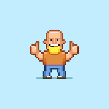 colorful simple flat pixel art illustration of cartoon bald smiling man with beard showing thumbs up with two hands